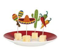 12 x 9cm Party Food Picks Cocktail Sticks Mexican Fiesta Flag Buffet Decoration