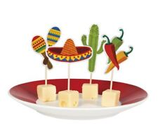 12 x 9cm Party Food Picks Cocktail Sticks Mexican Fiesta Flag Buffet Decoration