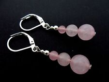 A PAIR OF PINK  JADE  BEAD  SILVER PLATED DANGLY LEVERBACK HOOK EARRINGS. NEW.