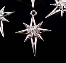 4 North Star Charms Antique Silver with Inset Clear Rhinestones
