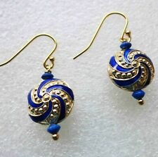Vintage Chinese Dramatic Blue And Gold Pinwheel Earrings