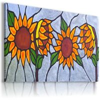 FLOWERS SUNFLOWERS STAINED GLASS Canvas Wall Art Picture Large  AB589 MATAGA