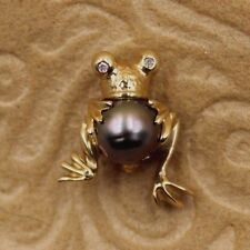 Vintage 14k Solid Gold Frog Pin With Pearl and Diamond Eyes, Lovely! Signed LTP