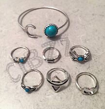 Cuff Bangle Boho Stone Crescent Moon Jewellery Bracelet & Knuckle Rings 7pc Set