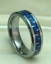 6mm TUNGSTEN CARBIDE ring with BLUE Carbon Fiber size 9