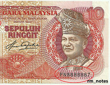 "MALAYSIA  RM10  AZIZ TAHA  Blindman 5th Series Almost Solid PN8888887  ""VF+"""
