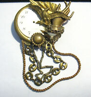 MAXIMAL ART STEAM PUNK PIN BROOCH 2 1/2 X 4 1/2 INCHES