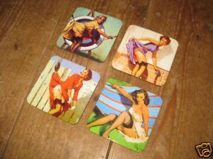 Pin Ups Glamour 1950s American Art Drinks Coaster Set 3