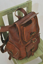 """20"""" Men's Real Leather Laptop Backpack Large Hiking Travel Camping Carry On Bag"""