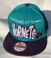 Charlotte Hornets Snapback HWC 9Fifty New Era NBA Hat Teal Vintage Classic Cap !