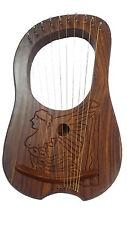 HM Lyre Harp Rosewood Engraved Irish Harp Emblem/Irish Lyra Harp 10 Metal String