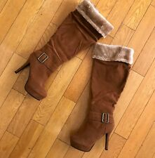 De Blossom Collection Camel Suede Boot Above Knee Women size 8.5