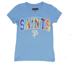 New Era by 5th & Ocean New Orleans NFL Girls Youth Blue Tie-Dye V-Neck T-S