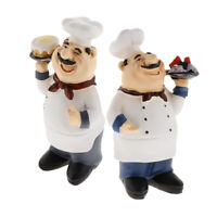 2pcs Chef Figurine Cook Collectible Statues for Bistro Bakery Restaurant