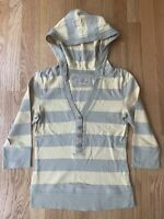 SO Brand Hoodie Pullover Sweater Cotton Green Yellow Striped Womens Size Medium
