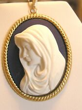 *REDUCED*Our Lady-Blessed Virgin Mary Cameo Pendant. dark. blue/g .