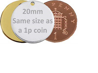 Engraved Pet Tags DOG CAT ID Disc Disk FREE Post & Engraving Standard 20mm Round