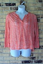 RXB Womens Top Size Large Semi Sheer Coral White Long Sleeves Hi Low Hem A1