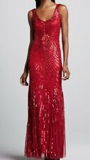 Aidan Mattox Beaded Gown with Sunburst Pattern Size 8 V Neck and Back Dress RED