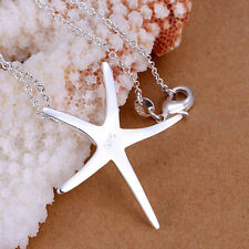 925 Sterling Silver Plated Party Necklace Jewelry Charm Beach Starfish Pendant