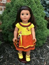 Fits American Girl Dolls, Hand Knitted Fall Harvest Party Dress (No Doll/Shoes)