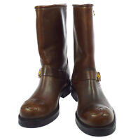 CHANEL CC Logos Medium Boots Shoes Brown Leather France 715 2658 36 Y03194k