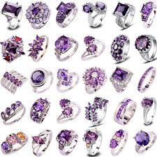 40 Styles Women Topaz Jewelry Amethyst Gemstone Silver Ring Gift Size 6-13