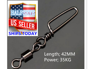 50Pcs Ball Bearing Fishing Swivels Snap Rolling Sea Connector Stainless Steel US