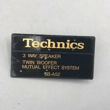 Vintage Technics SB-A52 Speaker Nameplate Emblem Badge