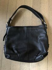 COACH Black Pebbled Leather Medium Hobo Tote Purse Bag F15064