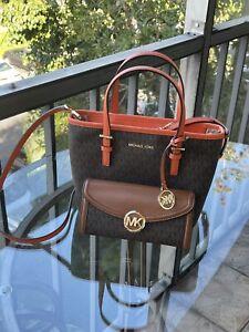Michael Kors Leather XS Top Zip Convertible Tote Satchel Bag+Fulton Wallet