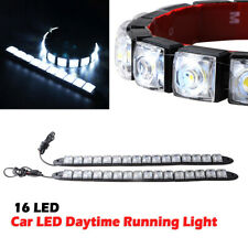 2x HID White 16-LED DIY Strip Lights for Car DRL Daytime Running Light Fog Light