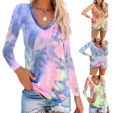 Womens Casual Long Sleeve V Neck T Shirt Loose Blouse Tie Dye Floral Tops