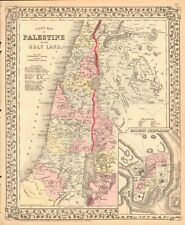 1874 ANTIQUE MAP - A NEW MAP OF PALESTINE OR THE HOLY LAND, MODERN JERUSALEM