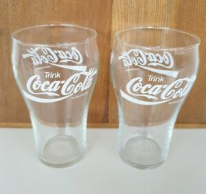 2 Coca Cola Gläser, Original, farblos, bauchig, 0,4 Liter