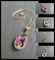 """Stone Gold Pendant Necklace Geode Slice Hot Fashion Ladies Gemstone 18-24"""" UK"""