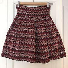 H&M Skirt XS - Small UK 6 - 8, EU 32 - 34 Red Black White misson zara zigzag