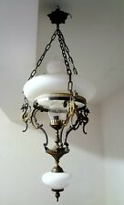 Antico lampadario con basilischi da loggia a campana in opaline e ottone