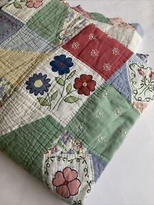 "Vintage Quilt Queen 84 x 96"" Multicolor Country Floral 70s 80s ? Patchwork"