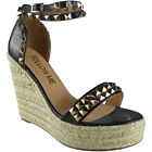 Womens Ladies Ankle Strap Studded Espadrilles Platform Shoes Wedge Sandals Size