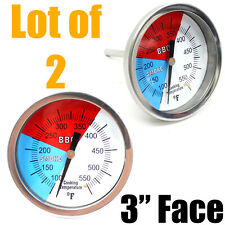 """Lot Two 3"""" Bbq Charcoal Grill Pit Wood Smoker Temp Gauge Thermometer 100-550℉"""