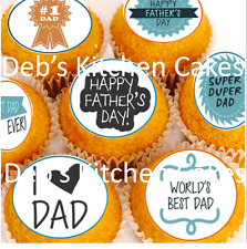 Fathers Day  Cupcake Toppers - Edible Wafer - 4cm x 24