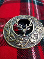 HW Stag Head Fly Plaid Brooch Antique Finish/Kilt Plaid Brooch Stag Deer Head