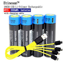 4pcs Etinesan 5550mWh 3.7V 18650 li-polymer rechargeable USB batteries + cable