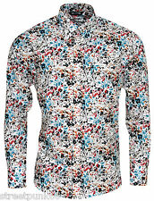 Relco Long Sleeve Shirt - Rs4a - Multi Colour - 60s Button Down Collar Mod Skin 3xl