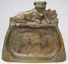 Antique Bronze Bulldog Tray Ashtray ornate old high relief card tip trinket