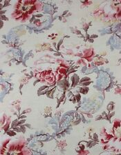"""Antique French Printed Floral & Lace Home Cotton Fabric c1880-1900~23""""Lx30&# 034;W"""