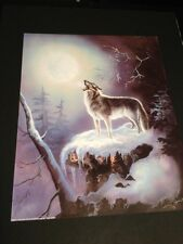"Wolf Howling At Spirit Moon 16 X 20"" Picture Print New In Lithograph"