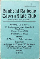 Nunhead Railway Tavern Slate Club Membership Card 1956