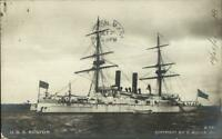 US Navy Naval Ship USS BOSTON 1905 Used Real Photo Postcard